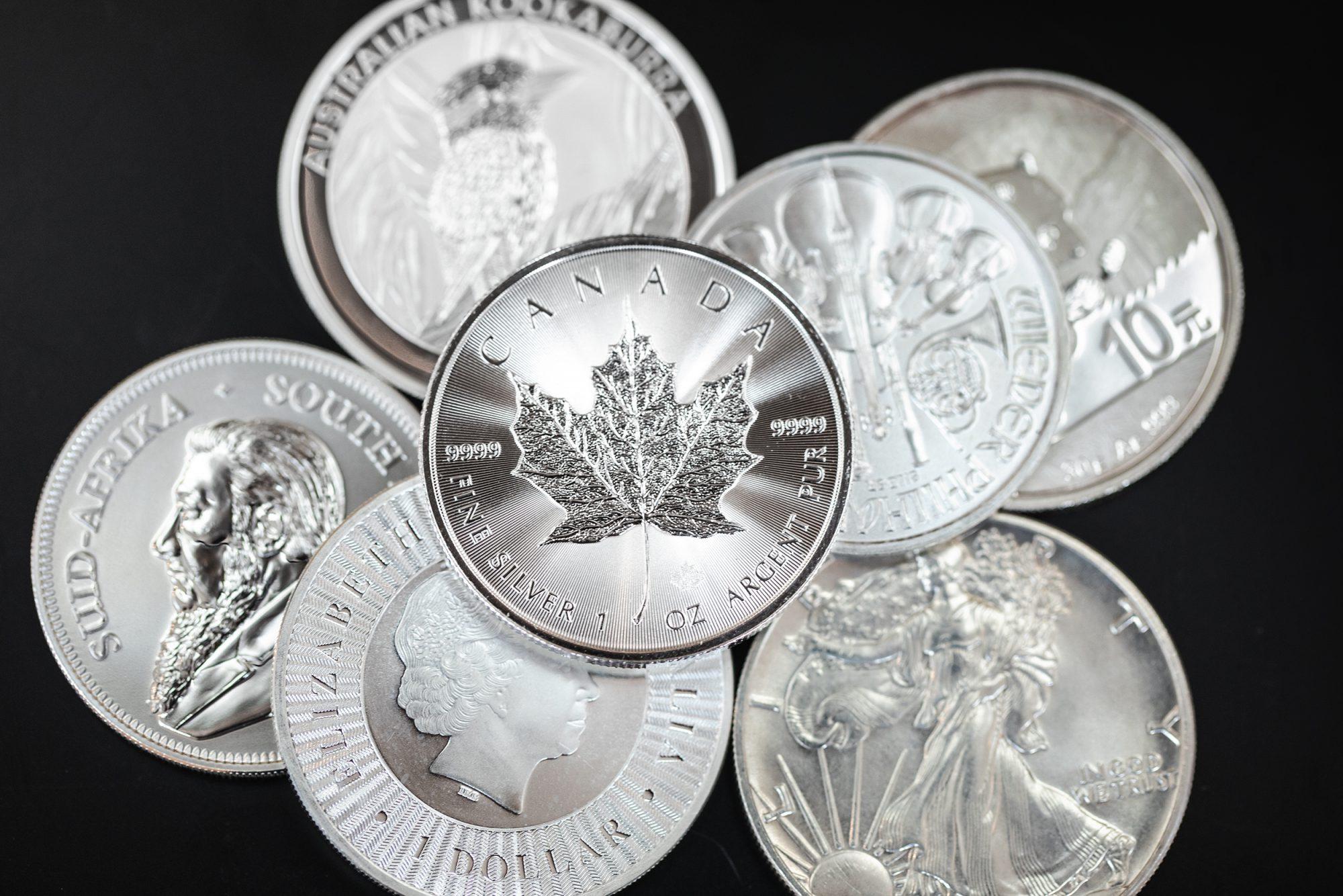 Komplettes Angebot an Silbermünzen