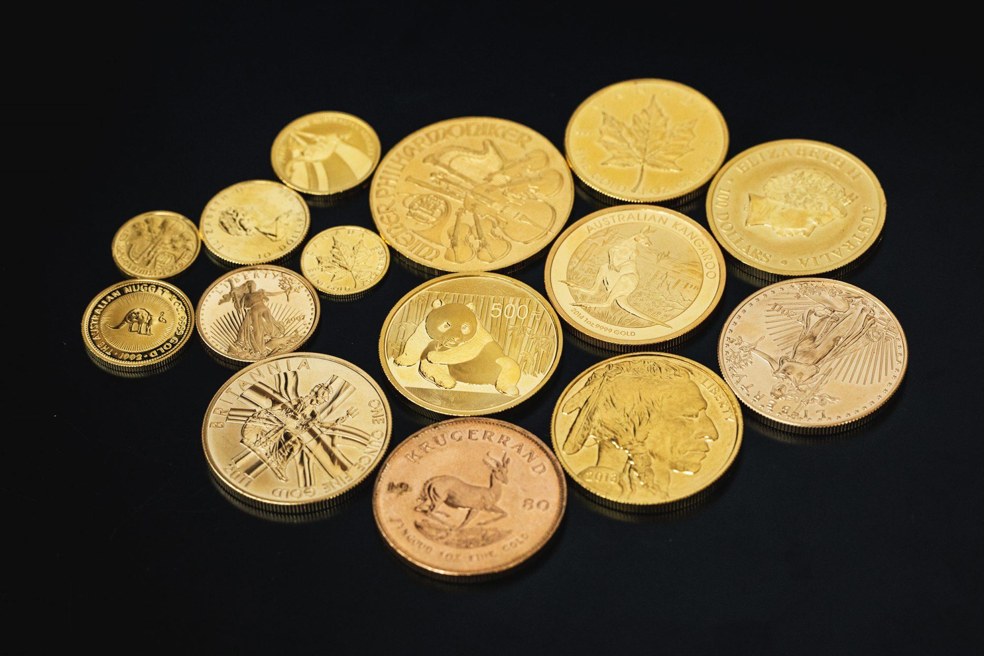 Komplettes Angebot an Goldmünzen